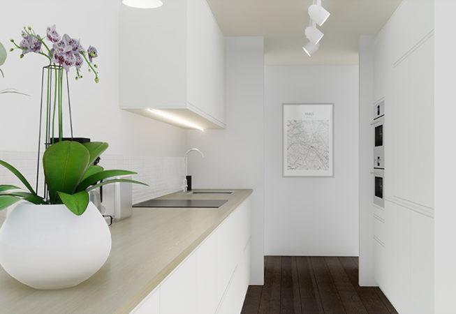 3D visualisointikuva keittiöstä